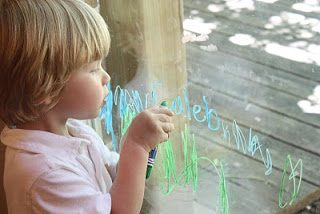 Vertical Writing with Window Crayons