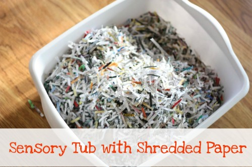 sensory tub 2 500x333 Sensory Tub with Shredded Paper