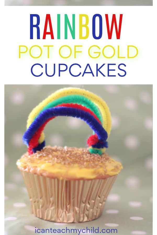 Easy St Patrick's Day Cupcakes Recipe - Rainbow Pot of Gold Cupcakes