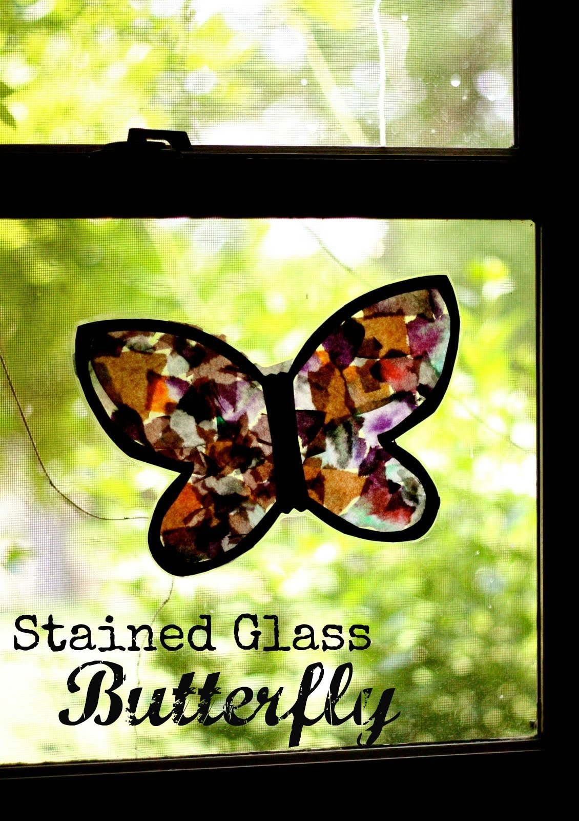 Stained glass butterfly i can teach my child for Butterfly stained glass craft