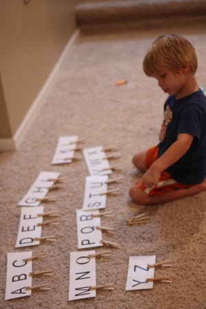 IMG 6481 300x450 Clothespin Capital & Lowercase Matching Activity