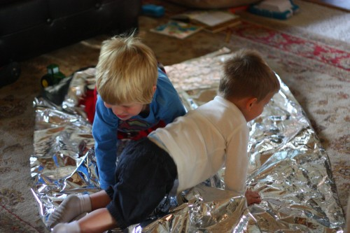 IMG 7496 500x333 Baby and Toddler Activity:  Fun with an Emergency Mylar Blanket