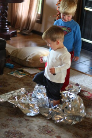 IMG 7498 300x450 Baby and Toddler Activity:  Fun with an Emergency Mylar Blanket