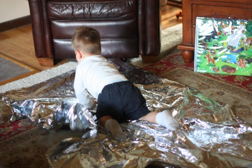 IMG 7506 500x333 Baby and Toddler Activity:  Fun with an Emergency Mylar Blanket