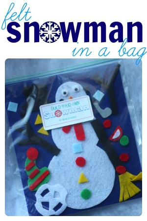 Felt Snowman in a Bag 300x450 Build Your Own Snowman (in a bag)