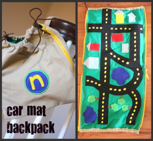 car mat collage 500x460 DIY Car Mat Backpack