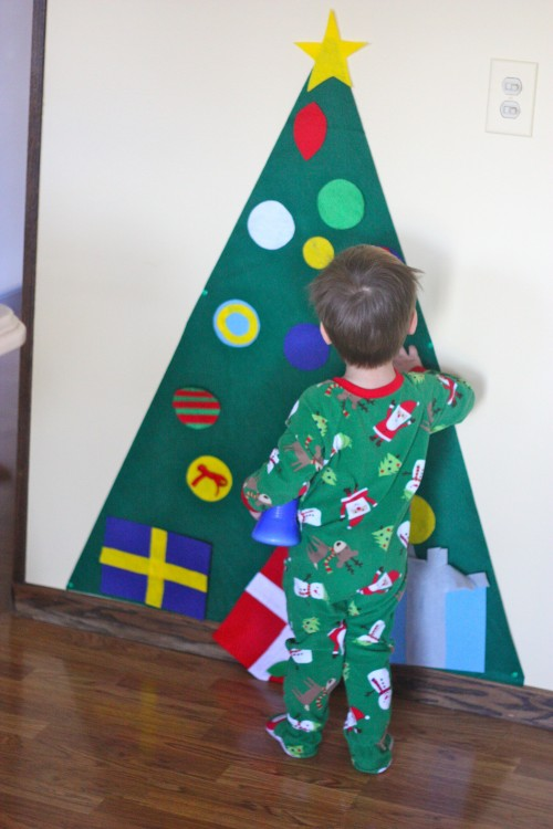 GENIUS idea! Now we don't have to worry about a small child taking all the decorations off the real tree!