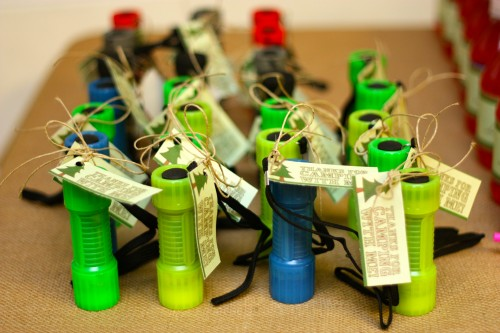 camping birthday party favors