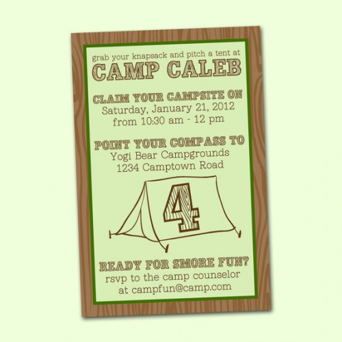 Camping Birthday Party I Can Teach My Child – Camping Birthday Invitations