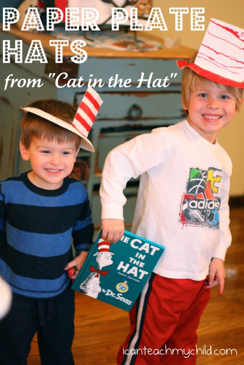 paper plate hats 500x749 Easy Cat in the Hat Hat!