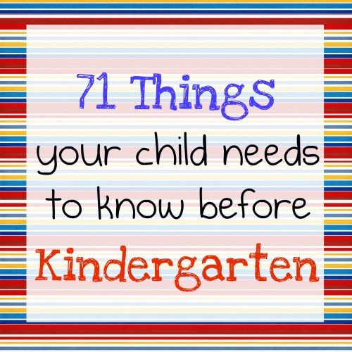 Your Childs Rights Response To >> Kindergarten Readiness 71 Things Your Child Needs To Know