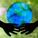"""He's Got the Whole World in His Hands:  Coffee Filter """"Stained Glass"""" Earth"""