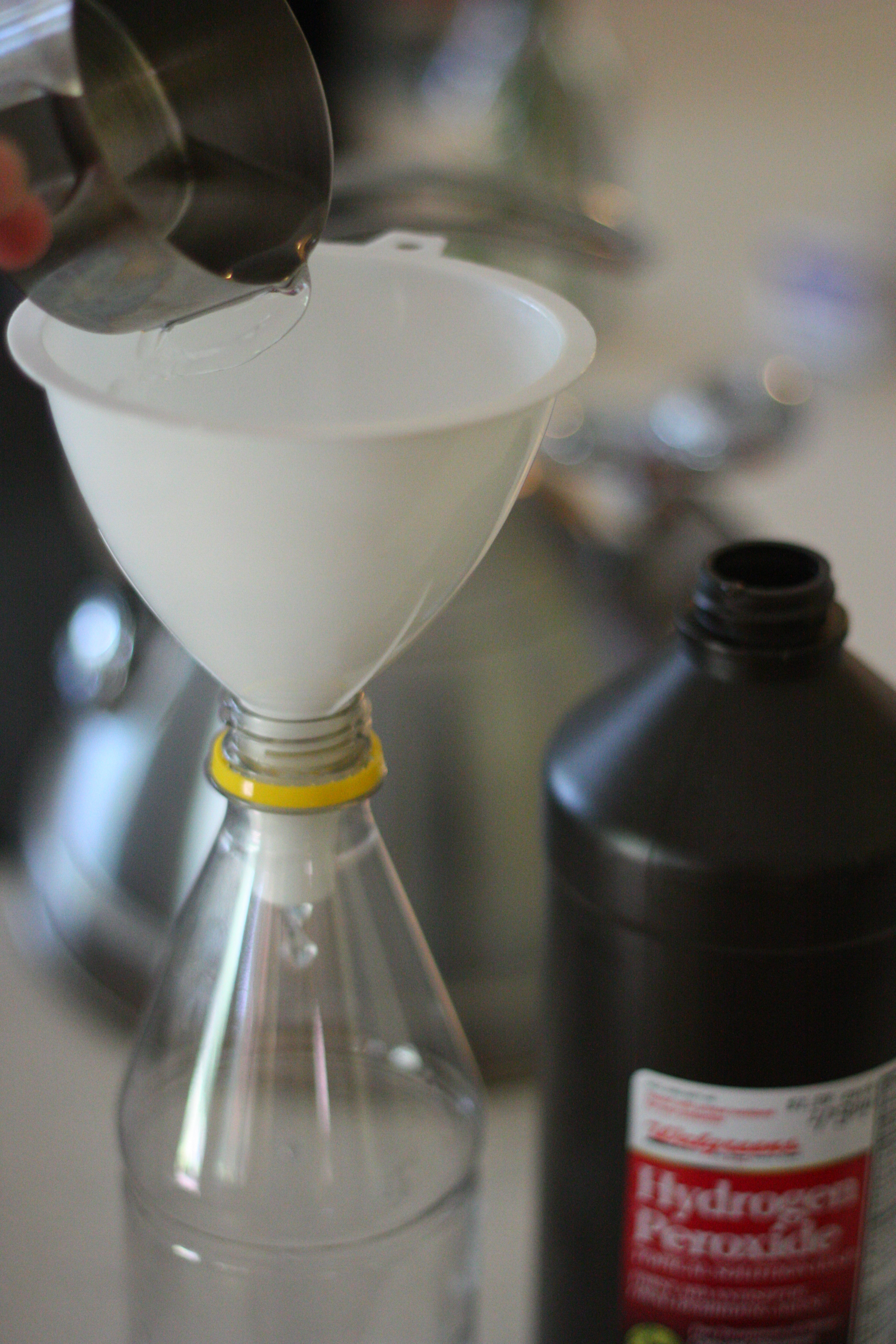 In Your 16 Ounce Bottle Use A Funnel To Pour 1 2 Cup Of Hydrogen Peroxide