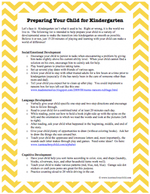 33 Ways to Prepare Your Child for Kindergarten Page 1 300x388 33 Ways to Prepare Your Child for Kindergarten
