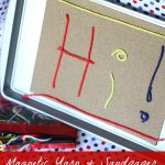 Cookie-Sheet Travel Activity:  Magnetic Sandpaper and Yarn
