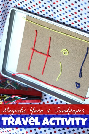 Magnetic Yarn Sandpaper Travel Activity 300x450 Cookie Sheet Travel Activity:  Magnetic Sandpaper and Yarn
