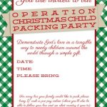 Customizable Operation Christmas Child Packing Party Invitation 150x150 Preparing for the Operation Christmas Child Packing Party
