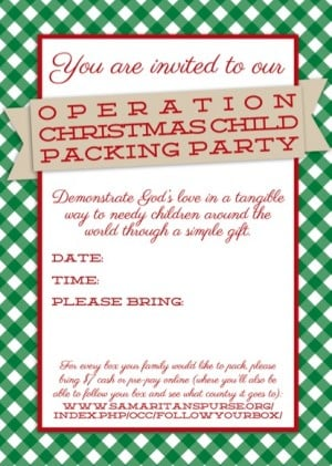 Customizable Operation Christmas Child Packing Party Invitation 300x421 Operation Christmas Child Packing Party Invitations