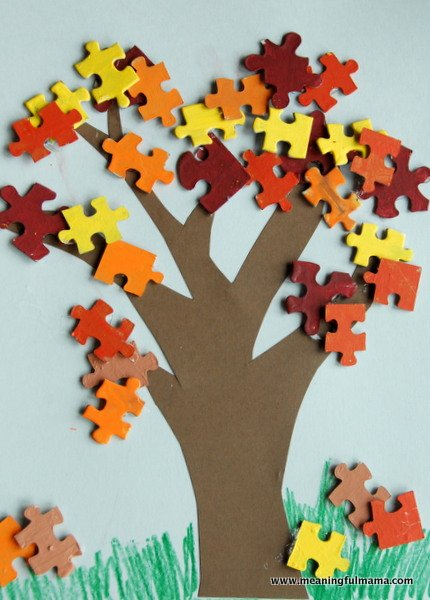 puzzle piece fall tree Show and Share Saturday Link Up!