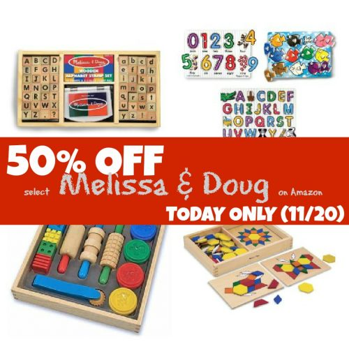 50 Percent Off Melissa and Doug on Amazon 500x500 50% Off Select Melissa & Doug Toys (TODAY ONLY:  11/20)