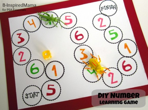 DIY Number Learning Game from B InspiredMama 1 500x374 Show and Share Saturday Link Up!