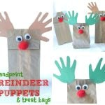 Handprint Reindeer Puppets and Treat Bags 150x150 Handprint (and Paw Print) Christmas Tree