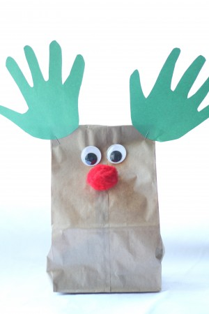 IMG 7063 300x450 Handprint Reindeer Puppets and Treat Bags