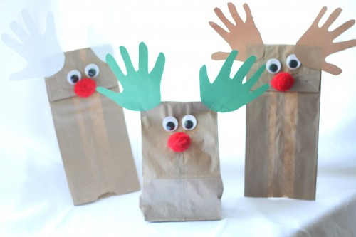 IMG 7065 500x333 Handprint Reindeer Puppets and Treat Bags