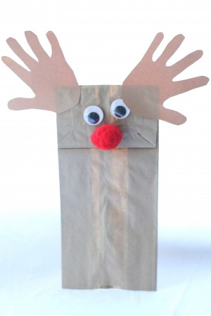 IMG 7067 300x450 Handprint Reindeer Puppets and Treat Bags