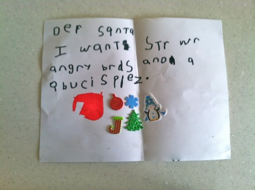 Dear Santa 500x373 Letter to Santa:  A Lesson in Learning to Write
