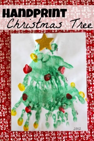 Handprint Christmas Tree 300x450 Handprint (and Paw Print) Christmas Tree