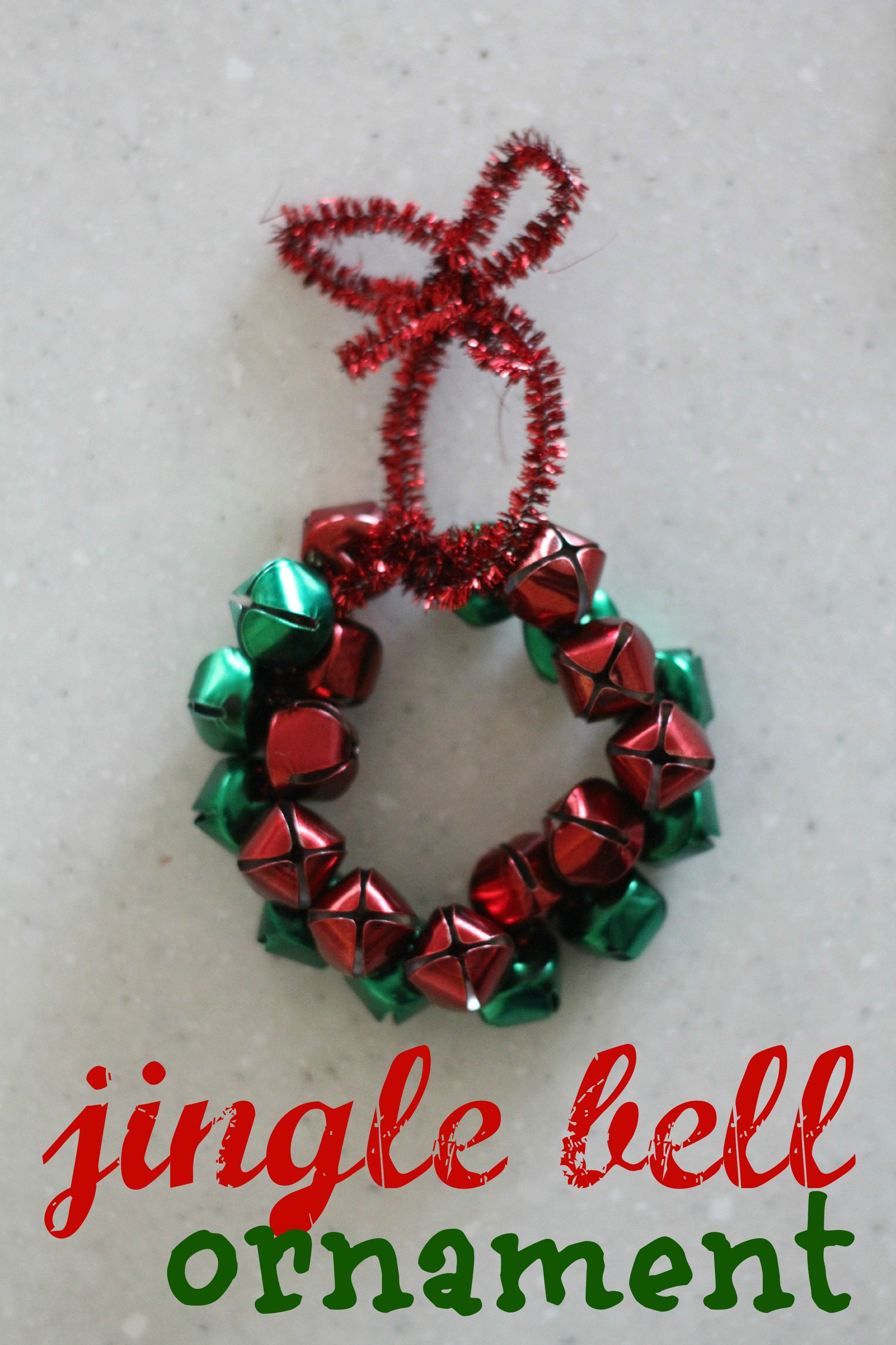 Jingle bell wreath ornament i can teach my child for Jingle bell christmas ornament crafts