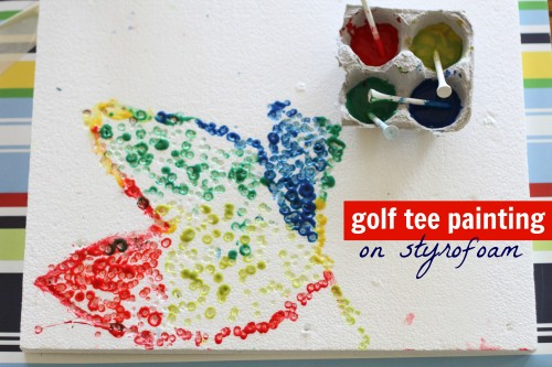 Golf Tee Painting on Styrofoam