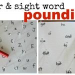 Letter Sight Word Pounding 150x150 Playdough & Alphabet Stamps