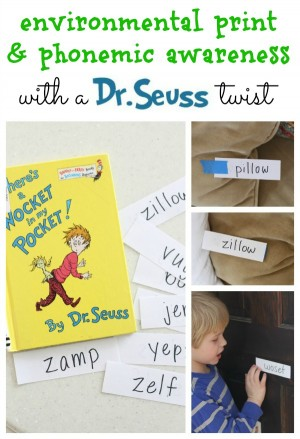 Environmental Print with a twist after reading There's a Wocket in my Pocket by Dr. Seuss