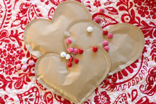 IMG 8061 500x333 Simple Brown Paper Valentines (Filled with Candy)