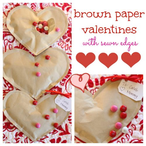 Simple Brown Paper Valentines with Sewn Edges 500x500 Simple Brown Paper Valentines (Filled with Candy)