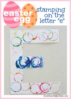 Easter Egg Stamping on the Letter E 300x418 Alphabet Craft:  Easter Egg Stamping on the Letter E