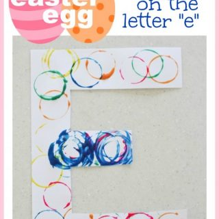 "Alphabet Craft:  Easter Egg Stamping on the Letter ""E"""
