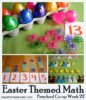 Easter Themed Math Activities Preschool Co op Week 221 300x348 Show and Share Saturday Link Up!
