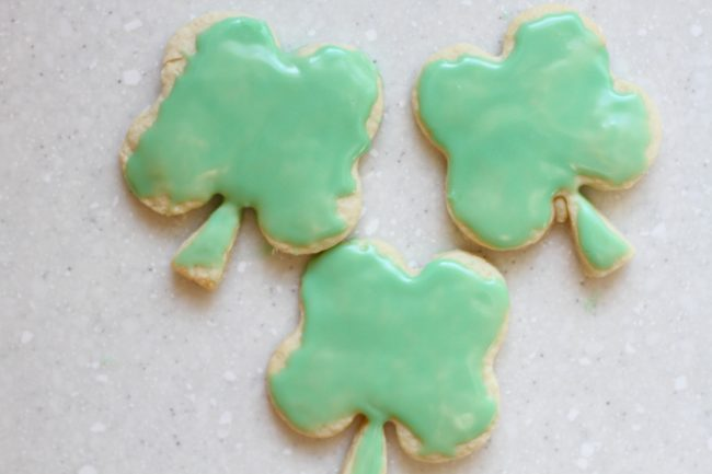 st Patrick's day cookies with green glaze