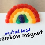 Rainbow Magnet made by putting plastic beads in the oven 150x150 Beaded Rainbow
