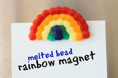Rainbow Magnet made by putting plastic beads in the oven