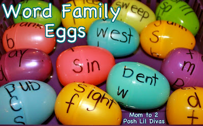 Word Family Eggs 20 Plastic Egg Activities