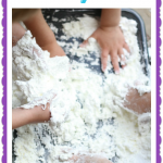 Shaving Cream and Corn Starch Sensory Experience 150x150 Sensory Tub with Shredded Paper