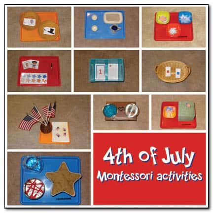 4th of July Montessori trays Gift of Curiosity Show and Share Saturday Link Up!