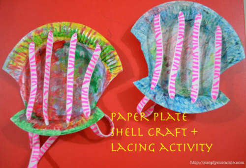 Paper Plate Shell Craft Lacing Activity 500x342 Show and Share Saturday Link Up!