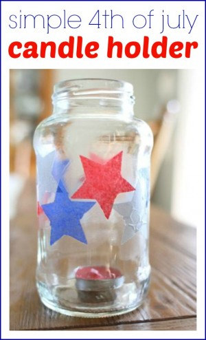Simple 4th of July Candle Holder