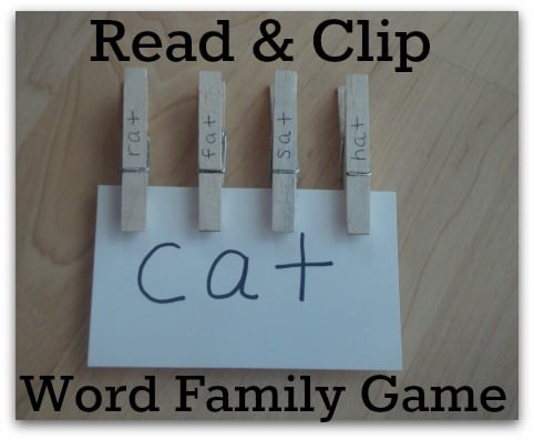 Read & Clip Word Family Game