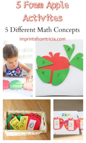 5 Foam Apple Math activities 300x496 Show and Share Saturday Link Up!
